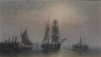 shipping at dawn and sunset (pair) by frederick miller