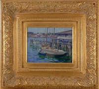 boats at a pier by louis frederick berneker