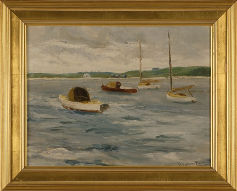 boats in a harbor by reynolds beal