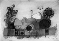 tauben und sonnenblumen by rosina wachtmeister
