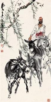 老人赶驴图 by huang zhou