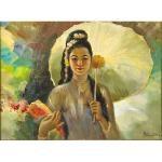 woman with parasol by raden basoeki abdullah
