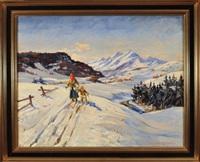 mutter und kind beim skilanglauf in einer weiten winterlandlandschaft by christian aabye-talge