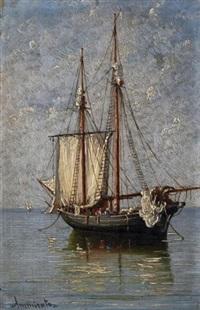 fischerboot auf ruhiger see by domenico ammirato