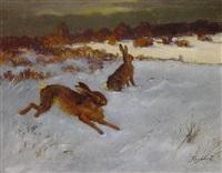 zwei hasen auf einer verschneiten heide by emanuel hegenbarth