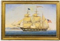 the barque james cook entering the port of leghorn, josiah wotton, comder, august 20 by american school