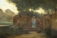 galante szene mit einer dame, die die stufen zum park hinabsteigt und von einem herrn im stil des 16. jh's empfangen wird by florent willems