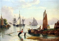 dutch and english estuary scenes with shipping at anchor (pair) by john ward