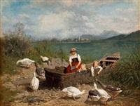 mutter mit strickzeug und zwei kinder in einem kahn am seeufer, davor schnatternde gänse by carl rohde