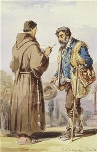ein kapuzinerpater und ein sizilianischer bauer by vianello