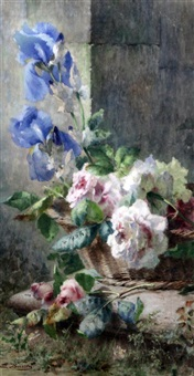 still life of flowers in a basket by ermocrate bucchi