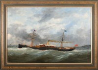 "the canadian steam vessel ""olonda"" leaving cap de le hev, le havre by marie-edouard adam"