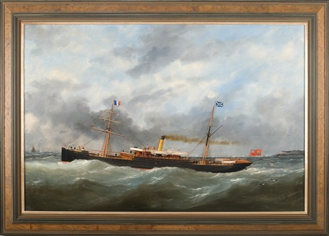 "the canadian steam vessel ""olonda"" leaving cap de le hev, le havre by marie-edouard adam"