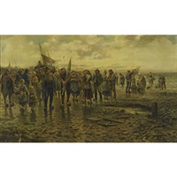 returning from fishing (no. 5722) by philip lodewijk jacob frederik sadée