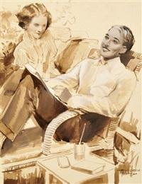 junges paar in korbstühlen by kurt heiligenstaedt