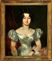 halbportrait einer dame im silberfarbenen kleid vor rotem vorhang by friedrich von amerling