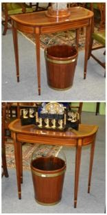 mahogany and satinwood d shaped side tables (pair) by arthur brett