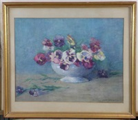still life of pansies in a white bowl by constance walton
