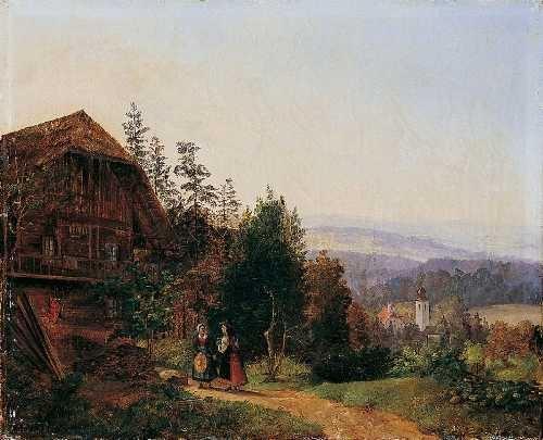 landschaft mit einem bauernhaus und blick auf ein kirchdorf by julius abbiati