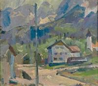 kirchdorf in den bergen an einem sommertag by jakob agersnap