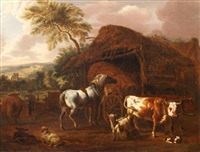mountain landscape with cow and horse by dirk van bergen