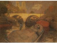 schiffe auf der seine mit der kathedrale notre-dame by rudolf quittner