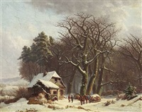 waldkate in winterlandschaft by monogrammist a.b.