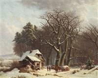 waldkate in winterlandschaft by monogrammist a.b.