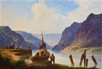 fischer in berglandschaft by andreas achenbach