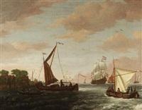 marine - statenyacht, fischerboote und eine holländische kriegspinasse in einer flußmündung by adam silo