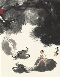 herding in summer by li keran