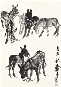 donkeys by huang zhou