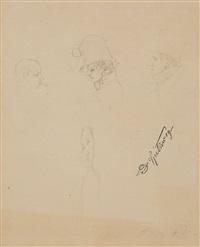 study of four heads by carl spitzweg