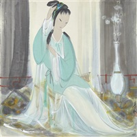 lady tidying hair by lin fengmian