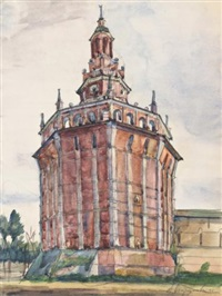 red tower in st. petersburg by anna petrovna ostroumova-lebedeva