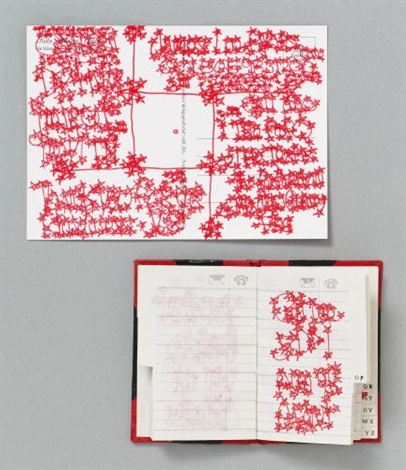 ohne titel 3 works of various sizes incl address book picture postcard photo repro all reworked with red felt tip pen by james lee byars