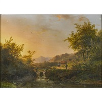 mountainous river landscape with bridge by johann bernard klombeck