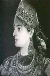portrait of a bejeweled woman by aleksandr alekseevich alekseev