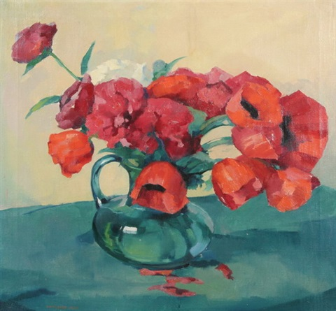 poppies in a blue pitcher by hans paap