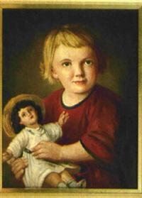 kleines blondes mädchen mit puppe by julius kockert