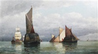 hay barges off the coast by frederick james aldridge