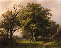 wooded landscape with shepherdess by johann bernard klombeck
