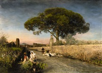 a sunset in campania by oswald achenbach