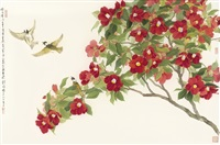 chinese bulbul and camellia by liu yong