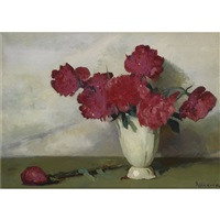 a still life with peonies by jacob ritsema