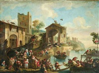 zwergenleben. auf einem italienischen marktplatz haben sich am rande eines hafens pygmäen um einen bader versammelt by enrico albricci