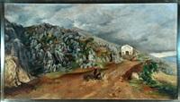 schafhirtin in sizilianischer berglandschaft by karl heffner