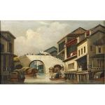 canal and bridge at honam, canton by george chinnery