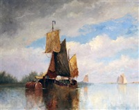 sail barge off the coast by frederick james aldridge