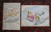 seaford in snow and children reading a book (2 works) by guy seymour warre malet